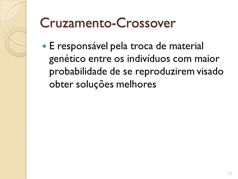 Cruzamento-Crossover E responsável pela troca de material genético entre os indivíduos com maior probabilidade de se reproduzirem visado obter soluçõe