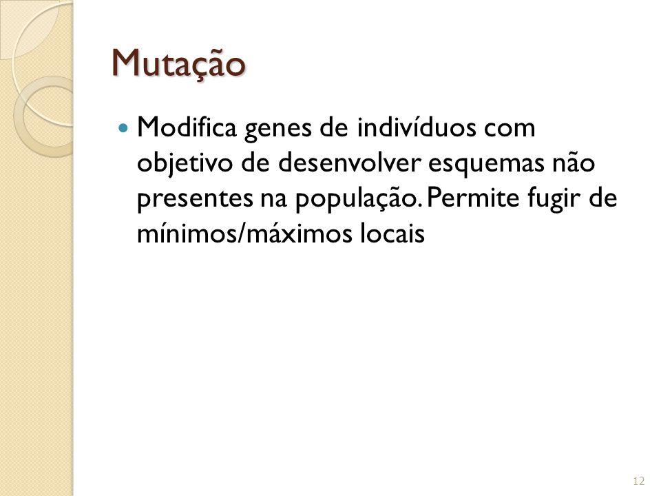 Mutação Modifica genes de indivíduos com objetivo de desenvolver esquemas não presentes na população. Permite fugir de mínimos/máximos locais 12