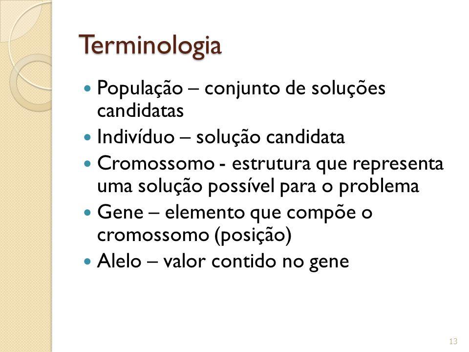 Terminologia População – conjunto de soluções candidatas Indivíduo – solução candidata Cromossomo - estrutura que representa uma solução possível para