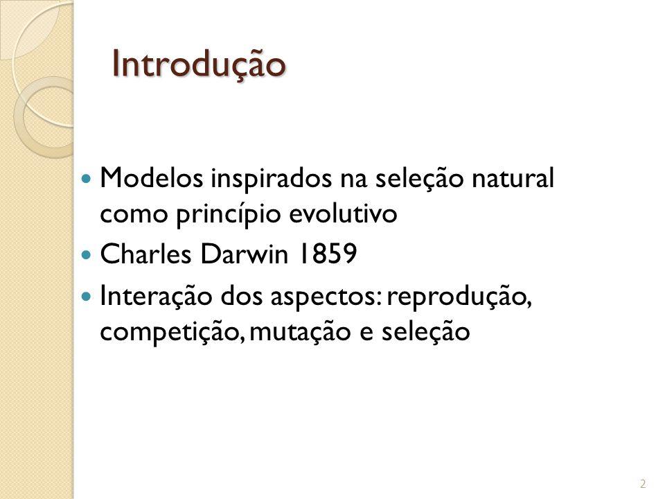 Introdução Modelos inspirados na seleção natural como princípio evolutivo Charles Darwin 1859 Interação dos aspectos: reprodução, competição, mutação