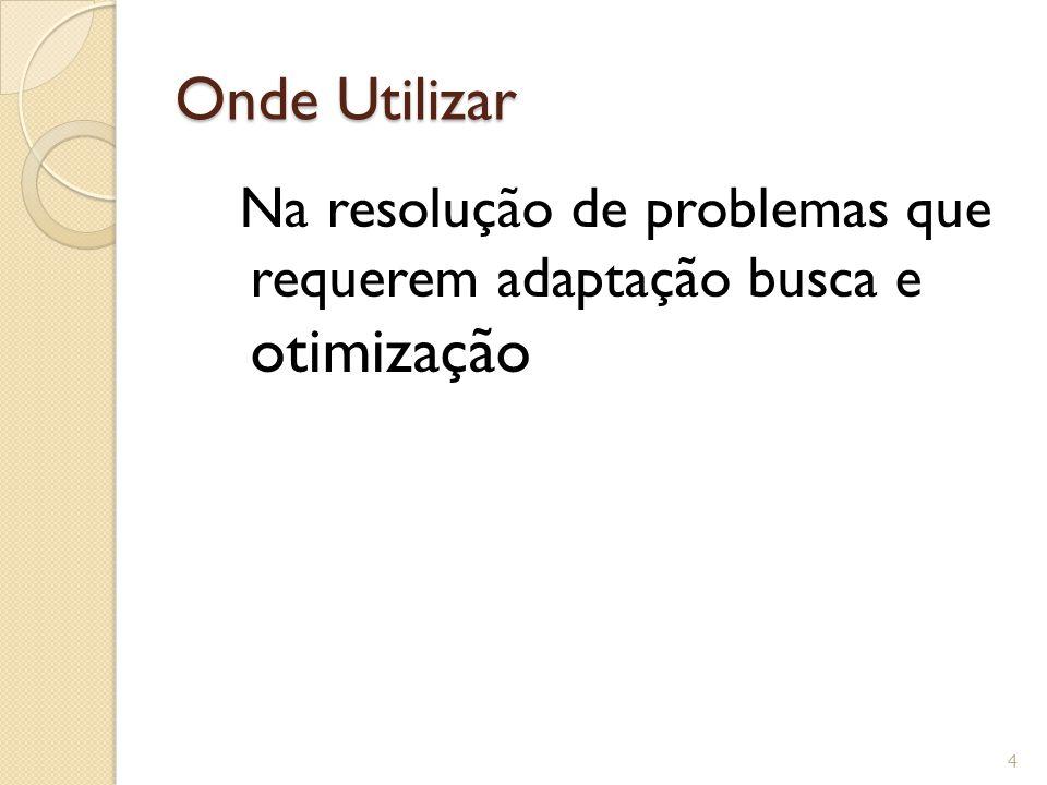 Onde Utilizar Na resolução de problemas que requerem adaptação busca e otimização 4