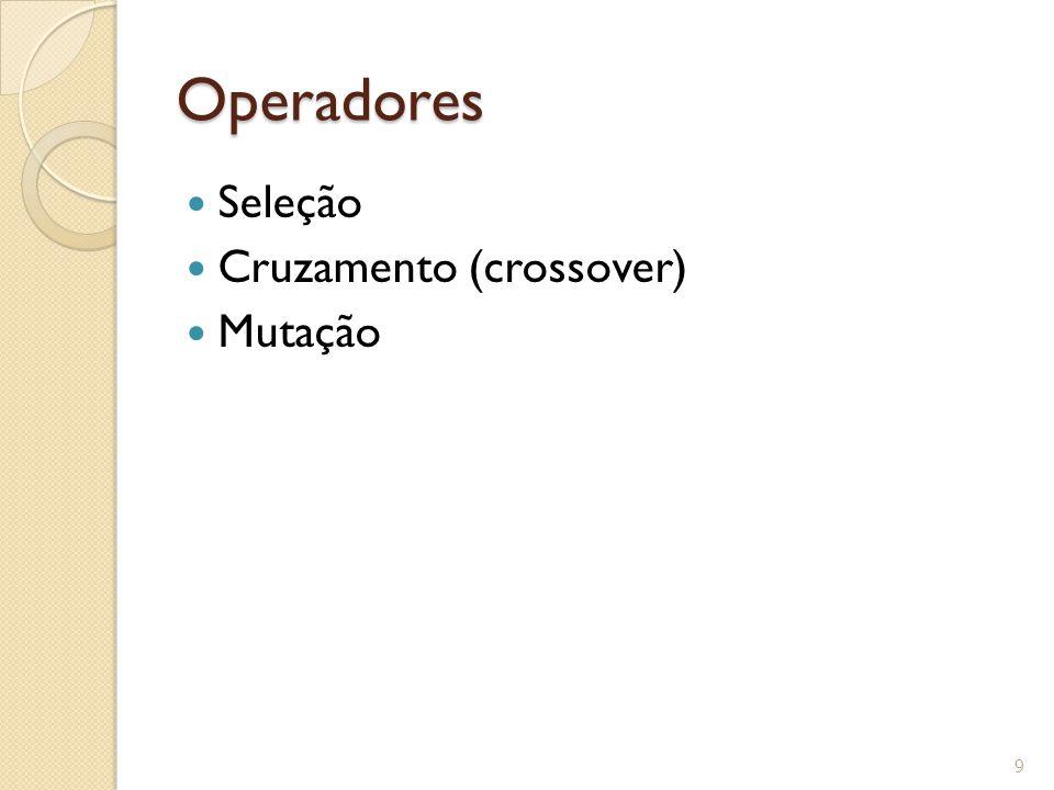 Operadores Seleção Cruzamento (crossover) Mutação 9