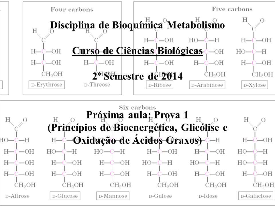 Disciplina de Bioquímica Metabolismo Curso de Ciências Biológicas 2º Semestre de 2014 Próxima aula: Prova 1 (Princípios de Bioenergética, Glicólise e