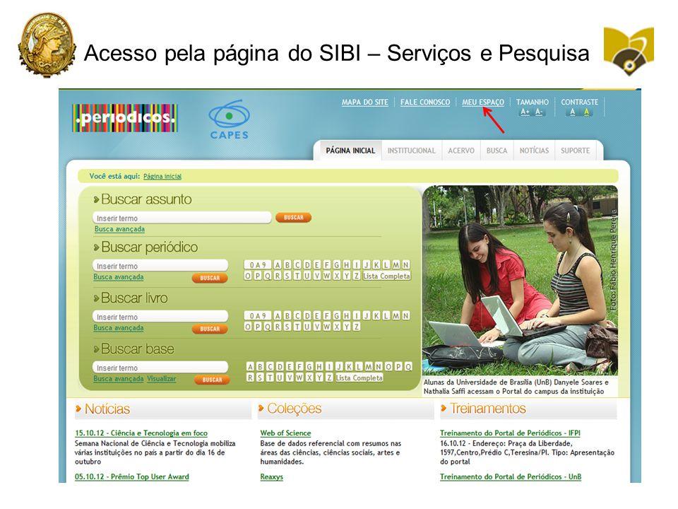 Acesso pela página do SIBI – Serviços e Pesquisa