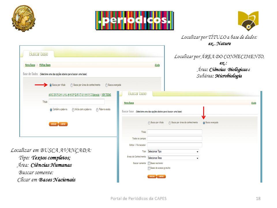 Portal de Periódicos da CAPES18 Localizar por TÍTULO a base de dados: ex,.