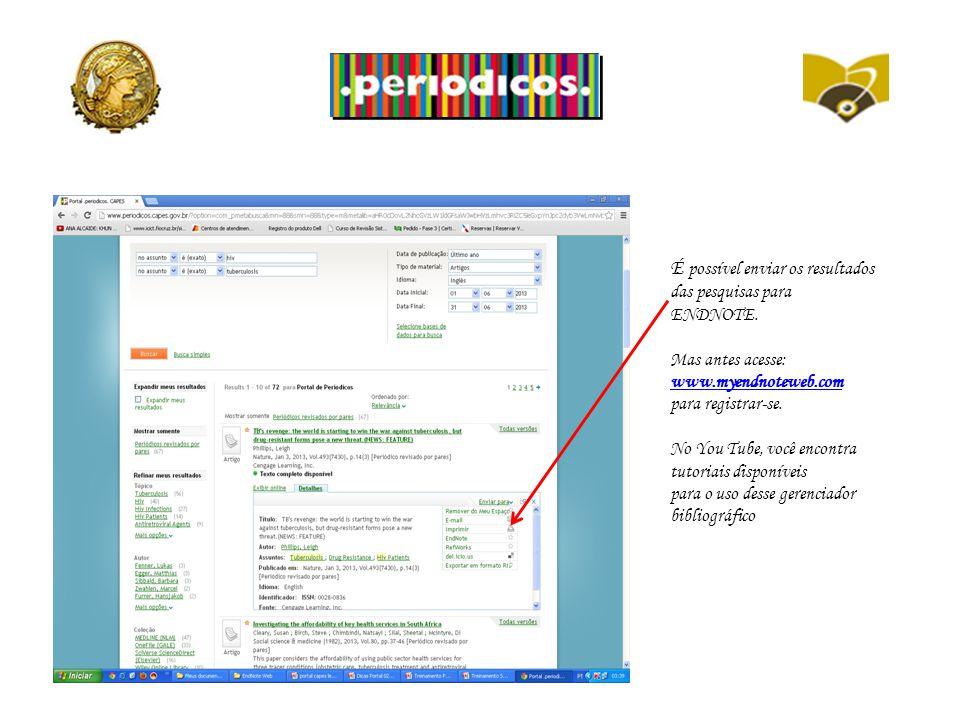 É possível enviar os resultados das pesquisas para ENDNOTE.