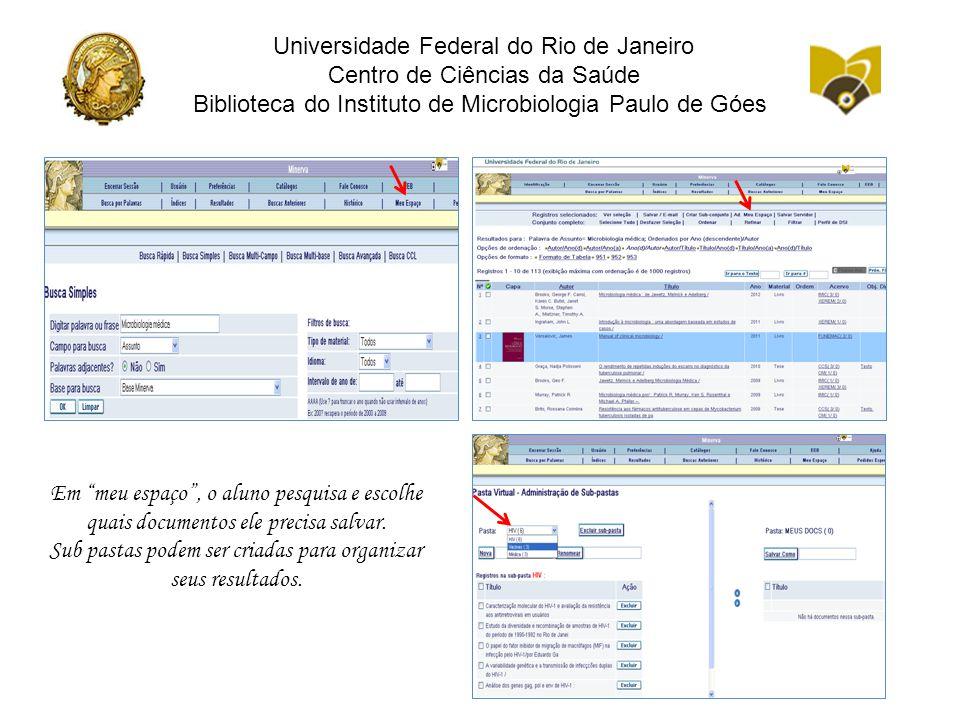 Universidade Federal do Rio de Janeiro Centro de Ciências da Saúde Biblioteca do Instituto de Microbiologia Paulo de Góes Em meu espaço , o aluno pesquisa e escolhe quais documentos ele precisa salvar.