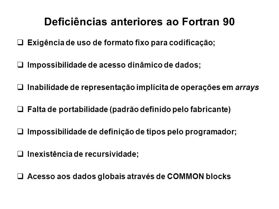 Deficiências anteriores ao Fortran 90  Exigência de uso de formato fixo para codificação;  Impossibilidade de acesso dinâmico de dados;  Inabilidad