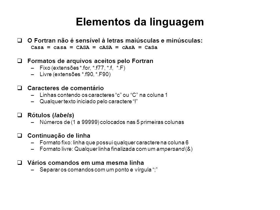 Elementos da linguagem  O Fortran não é sensível à letras maiúsculas e minúsculas: Casa = casa = CASA = cASA = cAsA = CaSa  Formatos de arquivos ace