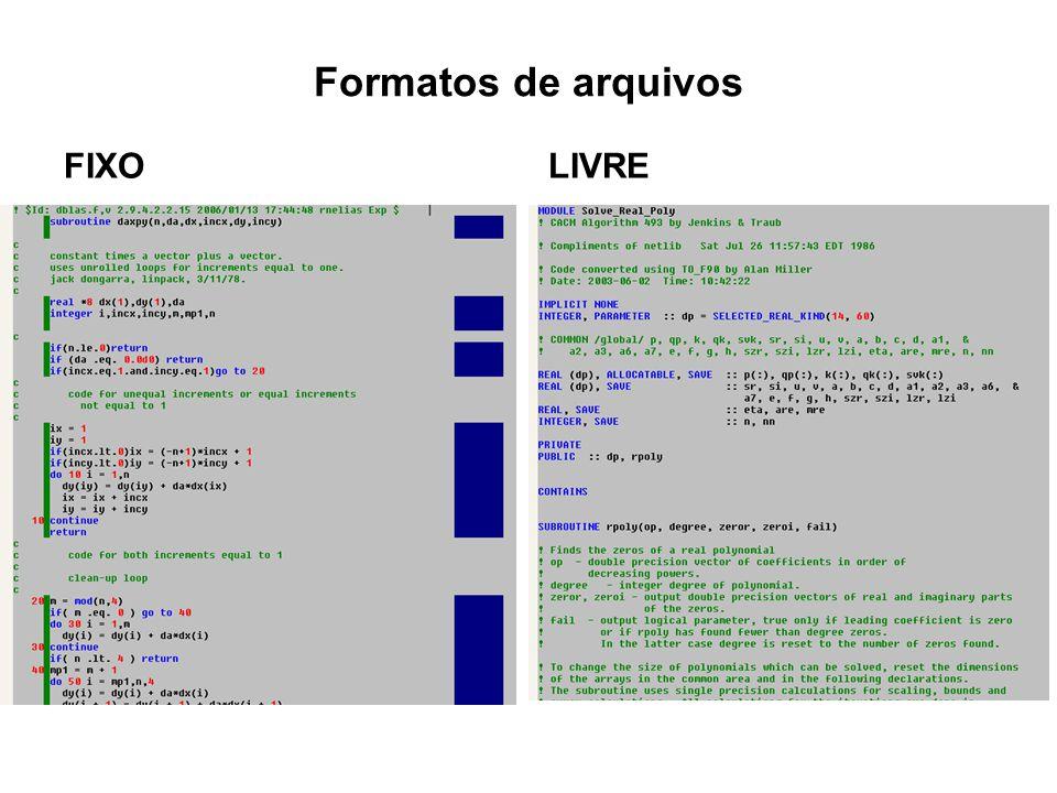 Formatos de arquivos FIXOLIVRE