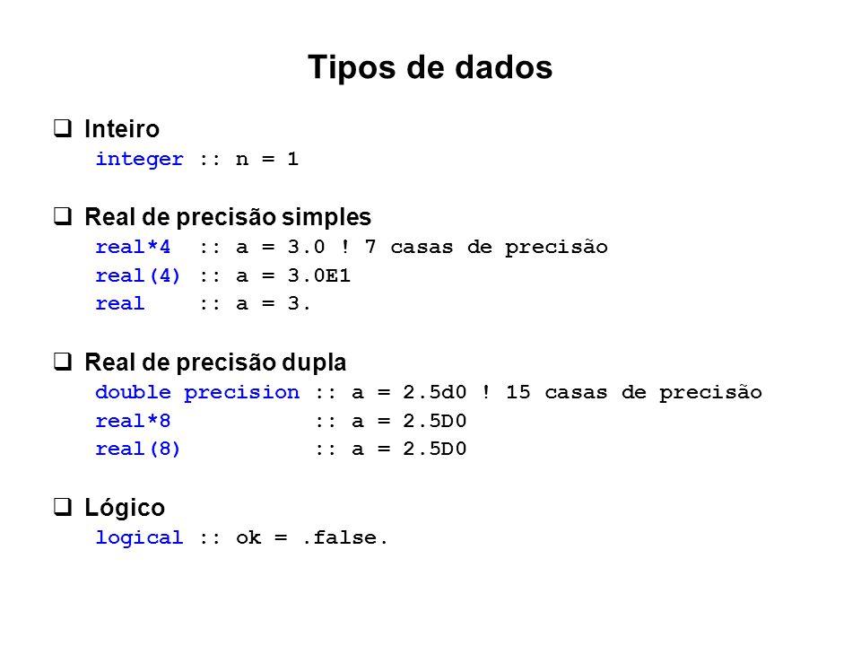 Tipos de dados  Inteiro integer :: n = 1  Real de precisão simples real*4 :: a = 3.0 ! 7 casas de precisão real(4) :: a = 3.0E1 real :: a = 3.  Rea
