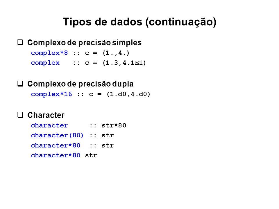 Tipos de dados (continuação)  Complexo de precisão simples complex*8 :: c = (1.,4.) complex :: c = (1.3,4.1E1)  Complexo de precisão dupla complex*1