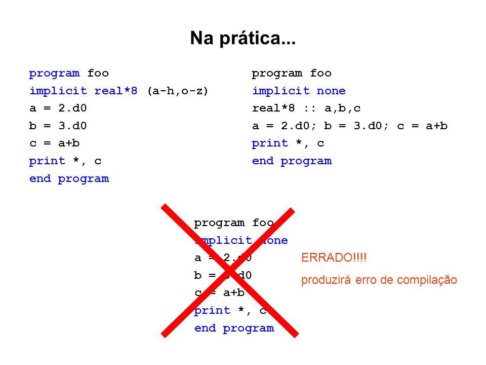 Na prática... program foo implicit real*8 (a-h,o-z) a = 2.d0 b = 3.d0 c = a+b print *, c end program program foo implicit none real*8 :: a,b,c a = 2.d
