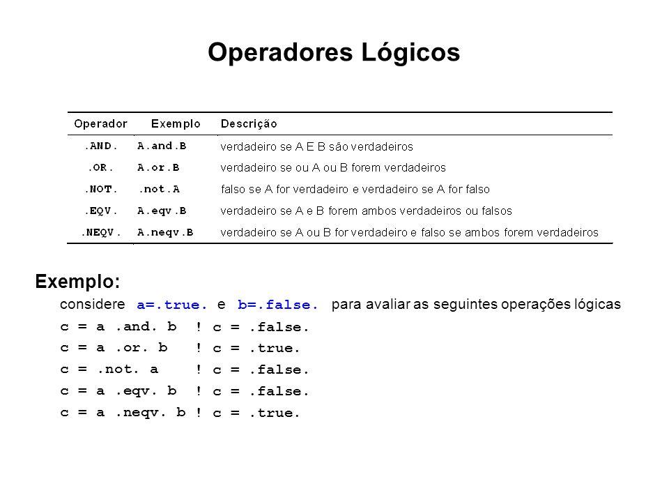 Exemplo: considere a =.true. e b =.false. para avaliar as seguintes operações lógicas c = a.and. b ! c =.false. c = a.or. b ! c =.true. c =.not. a ! c