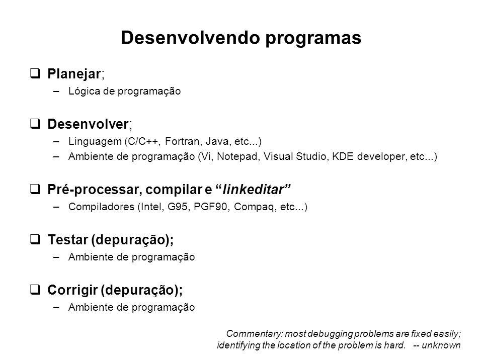 Desenvolvendo programas  Planejar; –Lógica de programação  Desenvolver; –Linguagem (C/C++, Fortran, Java, etc...) –Ambiente de programação (Vi, Note
