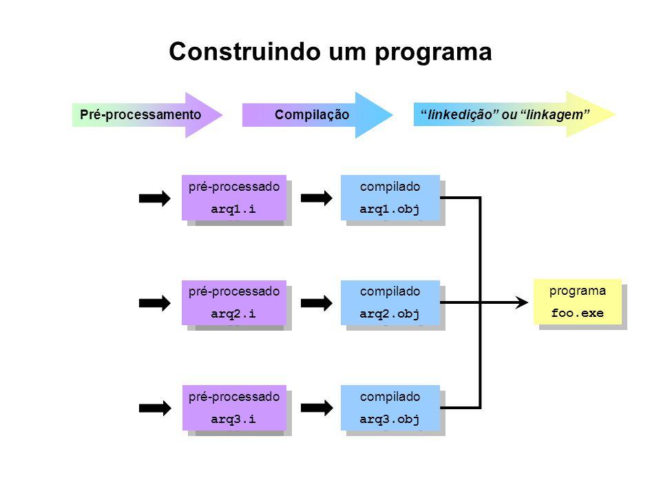 Construindo um programa compilado arq1.obj compilado arq1.obj compilado arq2.obj compilado arq2.obj compilado arq3.obj compilado arq3.obj fonte arq1.f