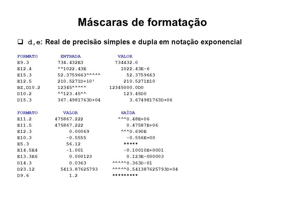 Máscaras de formatação  d,e : Real de precisão simples e dupla em notação exponencial FORMATO ENTRADA VALOR E9.3 734.432E3 734432.0 E12.4 ^^1022.43E