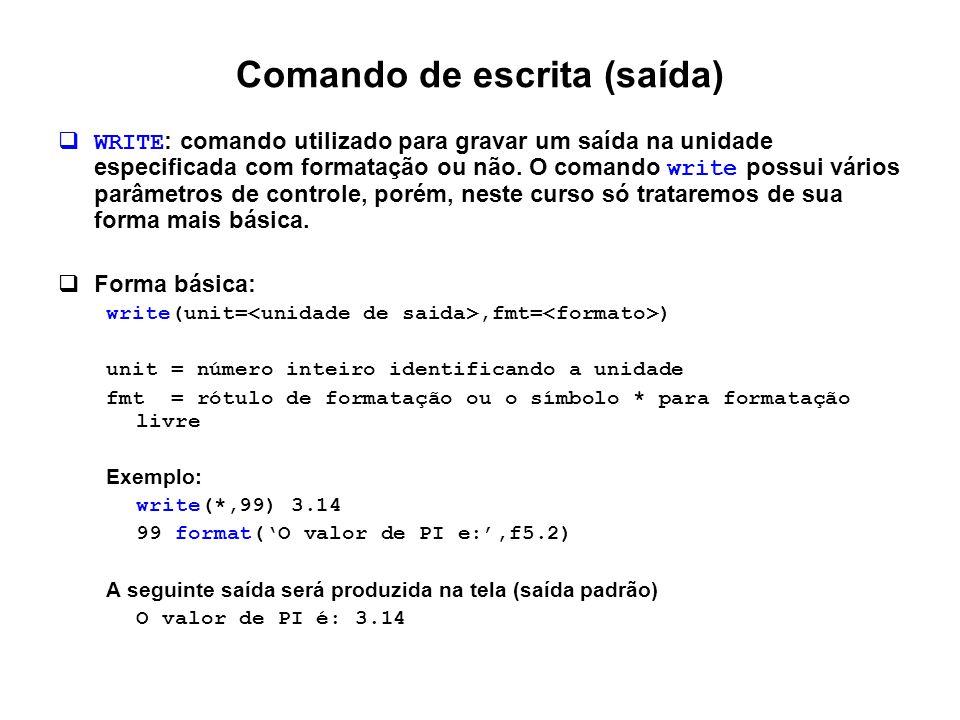 Comando de escrita (saída)  WRITE : comando utilizado para gravar um saída na unidade especificada com formatação ou não. O comando write possui vári