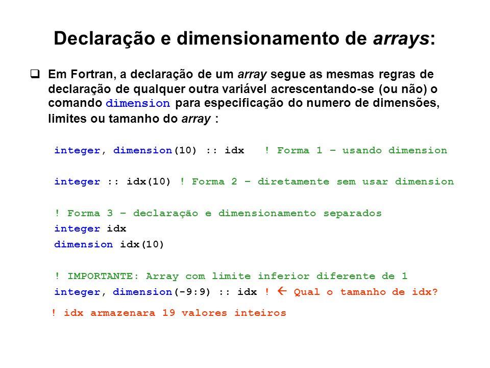 Declaração e dimensionamento de arrays:  Em Fortran, a declaração de um array segue as mesmas regras de declaração de qualquer outra variável acresce