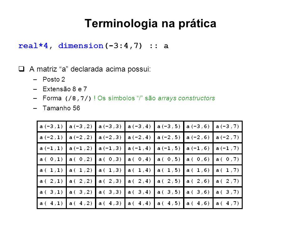 """Terminologia na prática real*4, dimension(-3:4,7) :: a  A matriz """"a"""" declarada acima possui: –Posto 2 –Extensão 8 e 7 –Forma (/8,7/) ! Os símbolos """"/"""