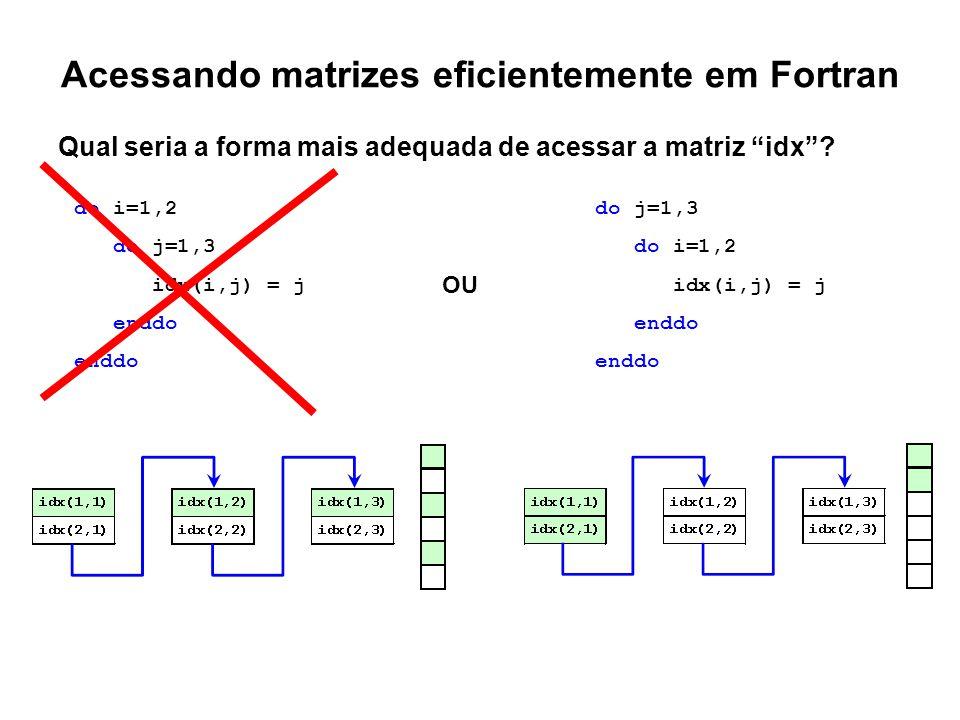 """Acessando matrizes eficientemente em Fortran Qual seria a forma mais adequada de acessar a matriz """"idx""""? do i=1,2 do j=1,3 idx(i,j) = j enddo do j=1,3"""
