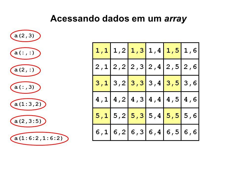 Acessando dados em um array a(2,3) a(:,:) a(2,:) a(:,3) a(1:3,2) a(2,3:5) a(1:6:2,1:6:2)