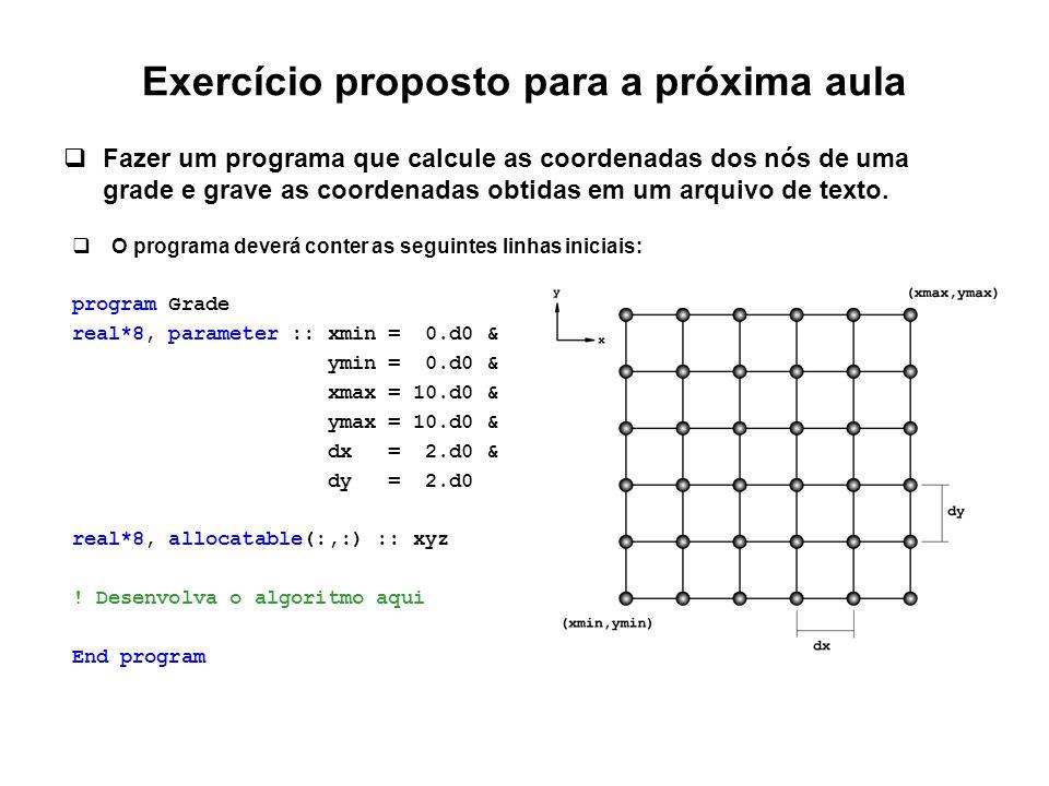Exercício proposto para a próxima aula  Fazer um programa que calcule as coordenadas dos nós de uma grade e grave as coordenadas obtidas em um arquiv