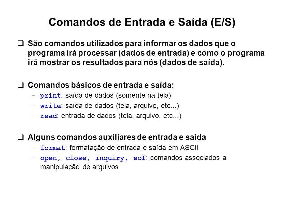 Comandos de Entrada e Saída (E/S)  São comandos utilizados para informar os dados que o programa irá processar (dados de entrada) e como o programa i