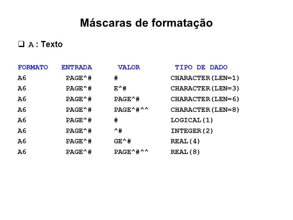 Máscaras de formatação  A : Texto FORMATO ENTRADA VALOR TIPO DE DADO A6 PAGE^# # CHARACTER(LEN=1) A6 PAGE^# E^# CHARACTER(LEN=3) A6 PAGE^# PAGE^# CHA
