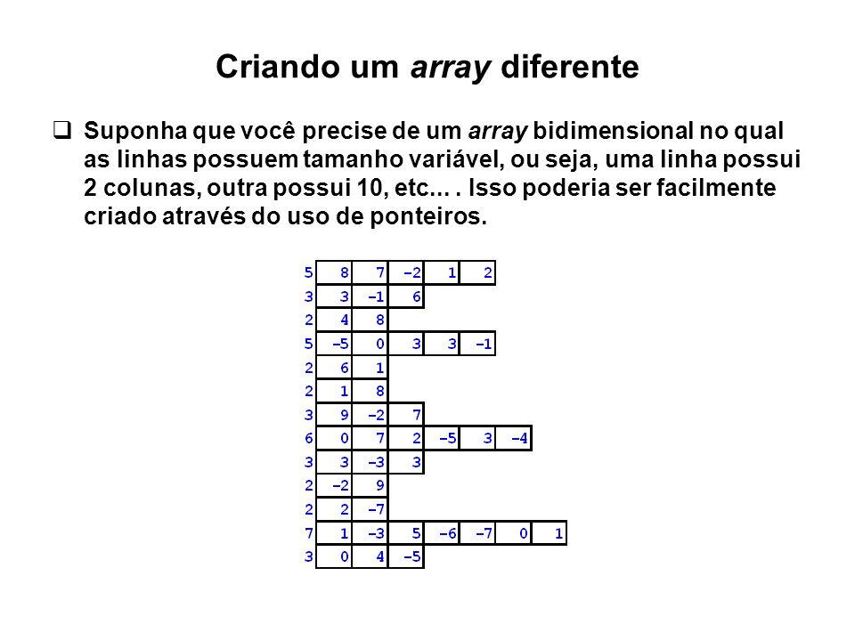 Criando um array diferente  Suponha que você precise de um array bidimensional no qual as linhas possuem tamanho variável, ou seja, uma linha possui