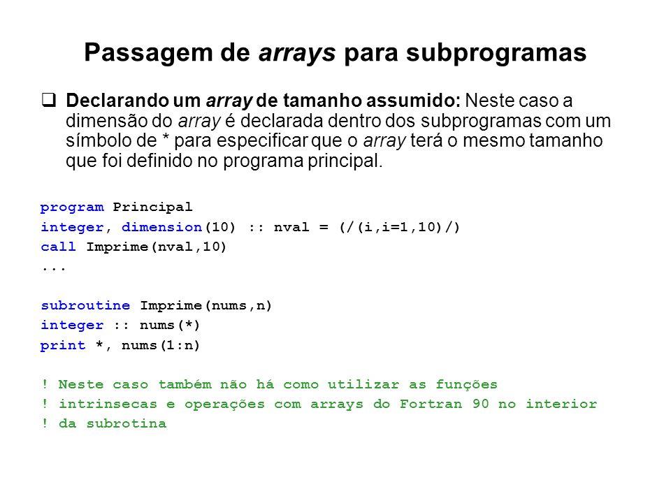 Passagem de arrays para subprogramas  Declarando um array de tamanho assumido: Neste caso a dimensão do array é declarada dentro dos subprogramas com