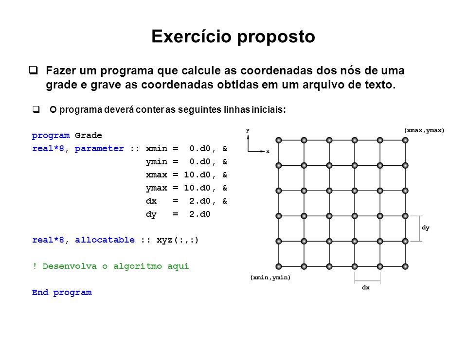 Exercício proposto  Fazer um programa que calcule as coordenadas dos nós de uma grade e grave as coordenadas obtidas em um arquivo de texto.  O prog