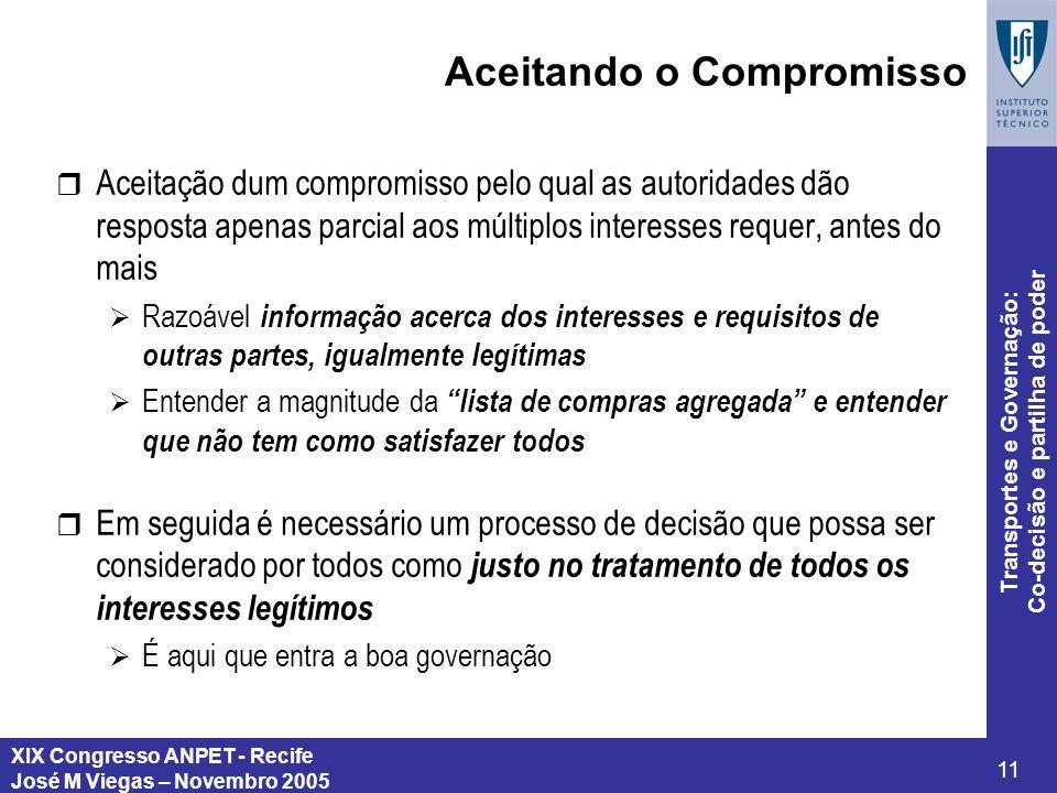 XIX Congresso ANPET - Recife José M Viegas – Novembro 2005 11 Transportes e Governação: Co-decisão e partilha de poder Aceitando o Compromisso r Aceit