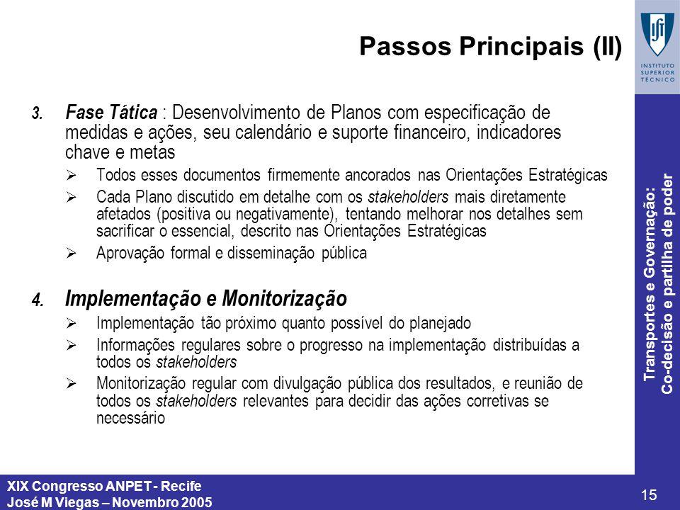 XIX Congresso ANPET - Recife José M Viegas – Novembro 2005 15 Transportes e Governação: Co-decisão e partilha de poder Passos Principais (II) 3. Fase