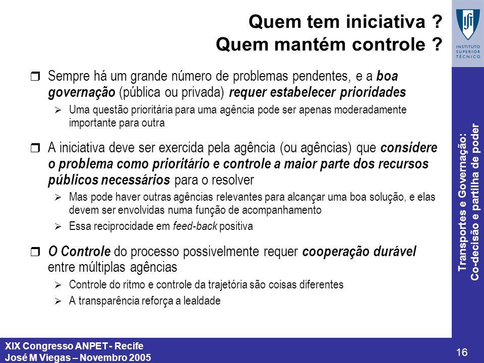 XIX Congresso ANPET - Recife José M Viegas – Novembro 2005 16 Transportes e Governação: Co-decisão e partilha de poder Quem tem iniciativa ? Quem mant