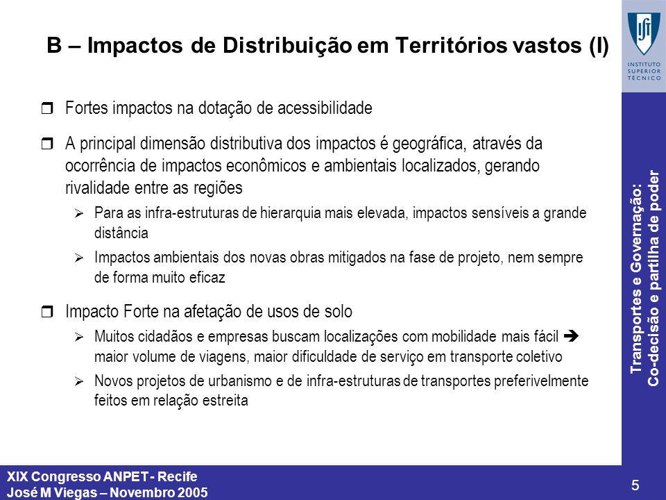 XIX Congresso ANPET - Recife José M Viegas – Novembro 2005 5 Transportes e Governação: Co-decisão e partilha de poder B – Impactos de Distribuição em