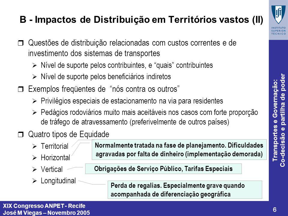 XIX Congresso ANPET - Recife José M Viegas – Novembro 2005 6 Transportes e Governação: Co-decisão e partilha de poder B - Impactos de Distribuição em