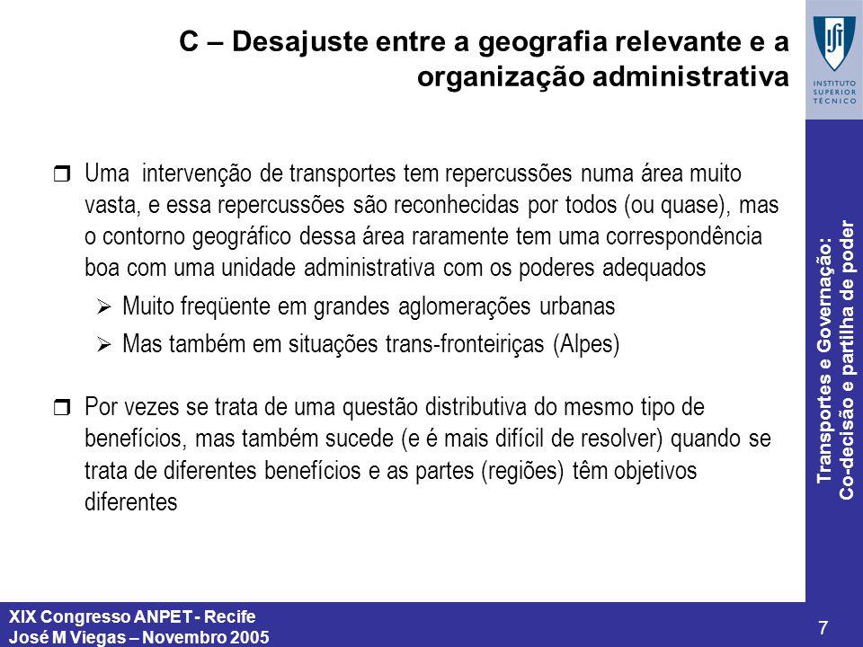 XIX Congresso ANPET - Recife José M Viegas – Novembro 2005 7 Transportes e Governação: Co-decisão e partilha de poder C – Desajuste entre a geografia