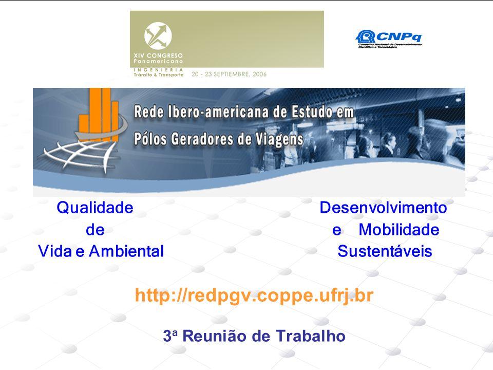 Qualidade Desenvolvimento de e Mobilidade Vida e Ambiental Sustentáveis http://redpgv.coppe.ufrj.br 3 a Reunião de Trabalho