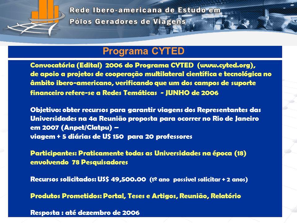 Programa de Engenharia de Transportes - COPPE/UFRJ13 Convocatória (Edital) 2006 do Programa CYTED (www.cyted.org), de apoio a projetos de cooperação m