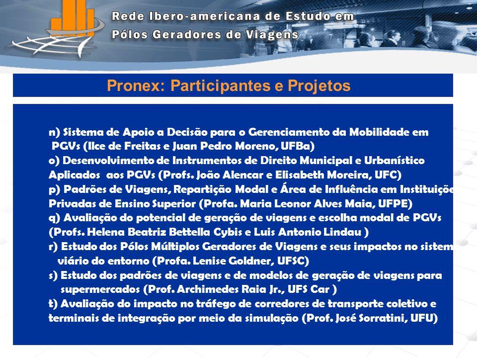 Programa de Engenharia de Transportes - COPPE/UFRJ17 n) Sistema de Apoio a Decisão para o Gerenciamento da Mobilidade em PGVs (Ilce de Freitas e Juan