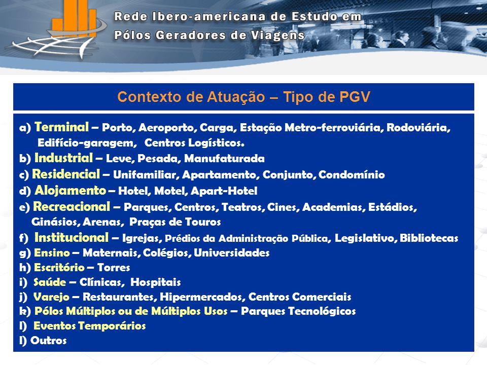 Programa de Engenharia de Transportes - COPPE/UFRJ6 a) Terminal – Porto, Aeroporto, Carga, Estação Metro-ferroviária, Rodoviária, Edifício-garagem, Ce