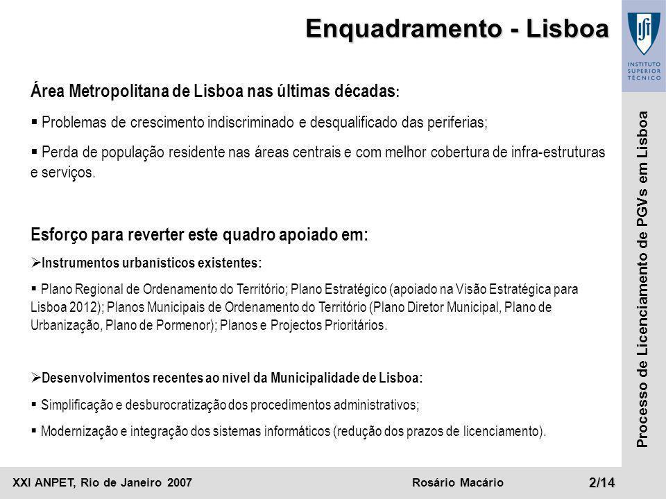 XXI ANPET, Rio de Janeiro 2007Rosário Macário13/14 Processo de Licenciamento de PGVs em Lisboa Câmara Municipal BCD A F Processo de Licenciamento de PGV GH E IJK LMN O Fluxo do Processo: Licenciamento de Projeto (Aprovação da Arquitetura) OUTPUT (Munícipe): Ato de aprovação Tráfego Outras Direções Municipais Planejamento Estratégico Planejamento Urbano Gestão Urbanística Após a aprovação do projeto, o processo segue em sentido inverso