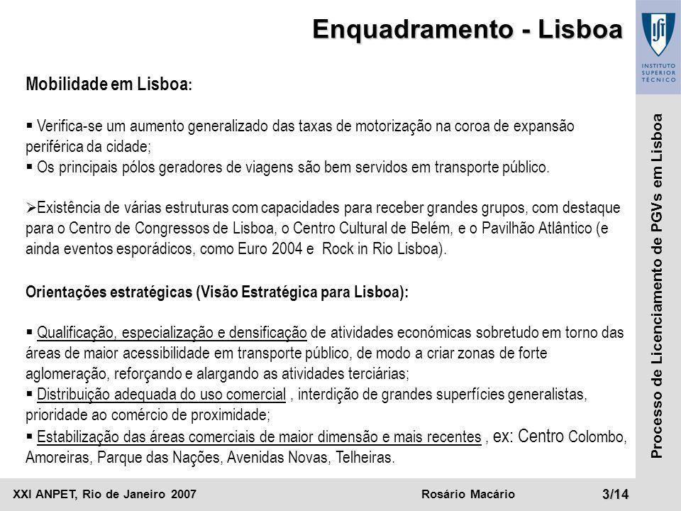 XXI ANPET, Rio de Janeiro 2007Rosário Macário4/14 Processo de Licenciamento de PGVs em Lisboa Enquadramento - Lisboa Centralidades comerciais Nível 1 Nível 2 Nível 3