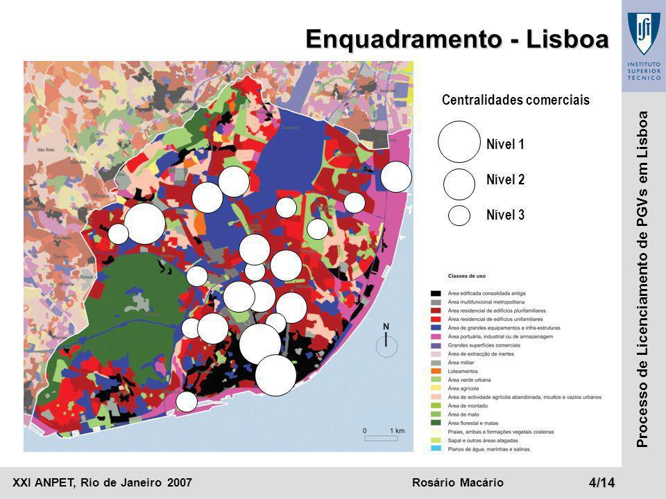 XXI ANPET, Rio de Janeiro 2007Rosário Macário4/14 Processo de Licenciamento de PGVs em Lisboa Enquadramento - Lisboa Centralidades comerciais Nível 1