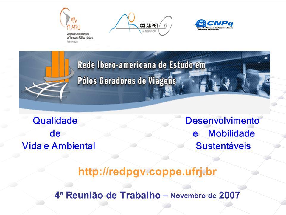 Qualidade Desenvolvimento de e Mobilidade Vida e Ambiental Sustentáveis http://redpgv.coppe.ufrj.br 4 a Reunião de Trabalho – Novembro de 2007