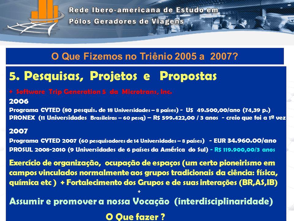 Programa de Engenharia de Transportes - COPPE/UFRJ10 5.Pesquisas, Projetos e Propostas + Software Trip Generation 5 da Microtrans, Inc. 2006 Programa