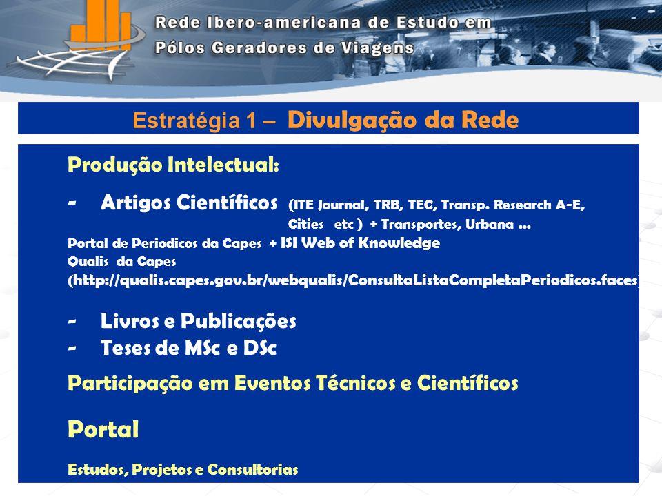 Programa de Engenharia de Transportes - COPPE/UFRJ11 Produção Intelectual: -Artigos Científicos (ITE Journal, TRB, TEC, Transp. Research A-E, Cities e