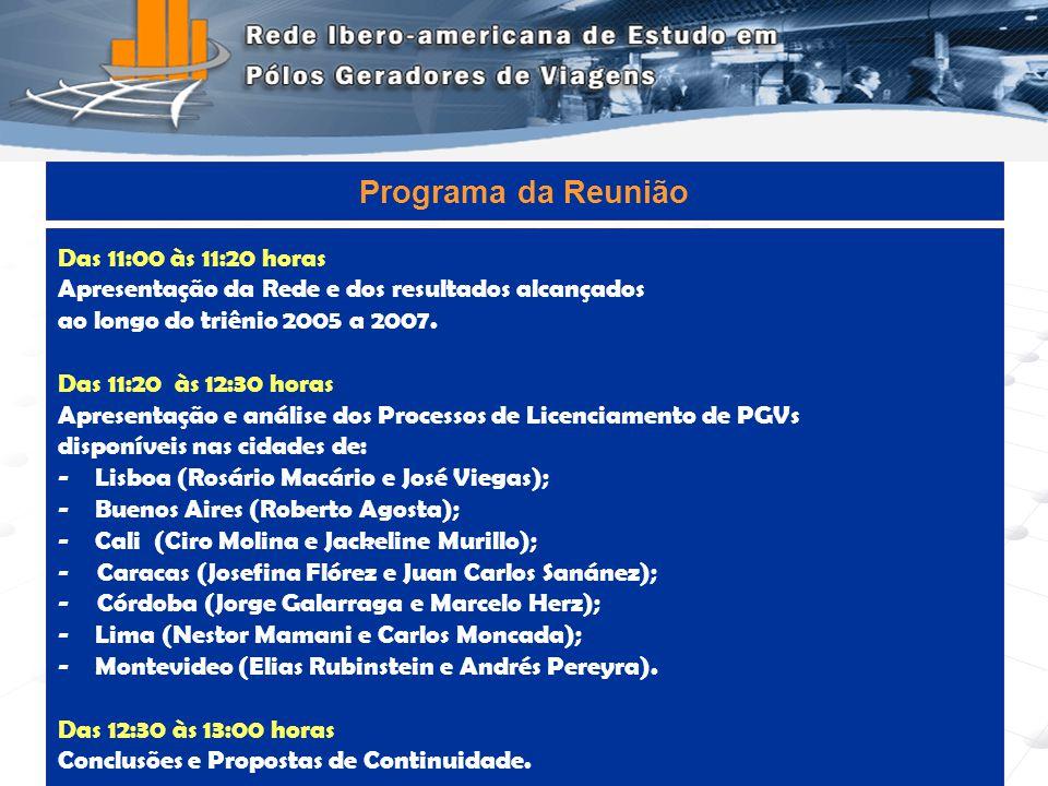 Programa de Engenharia de Transportes - COPPE/UFRJ2 Das 11:00 às 11:20 horas Apresentação da Rede e dos resultados alcançados ao longo do triênio 2005 a 2007.