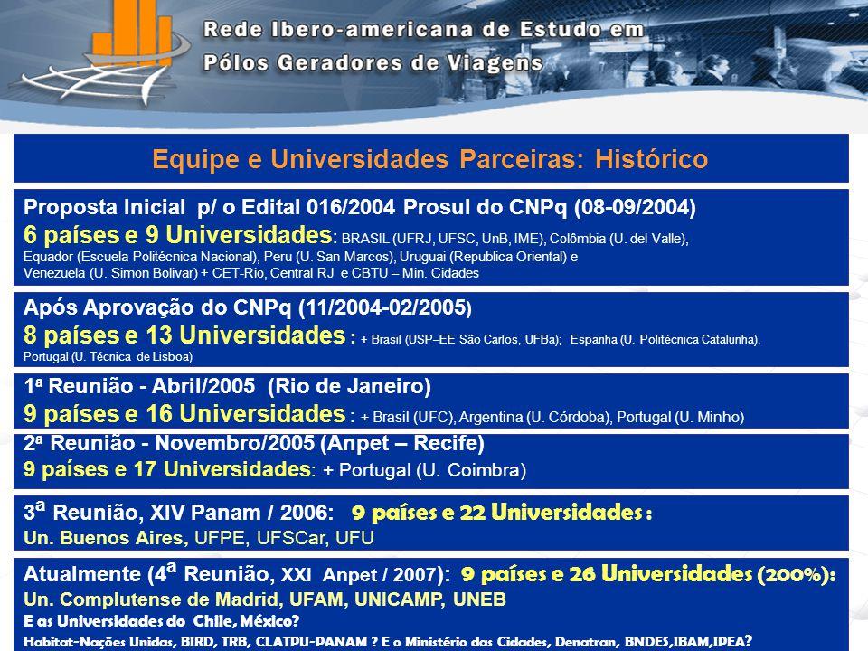 4 Proposta Inicial p/ o Edital 016/2004 Prosul do CNPq (08-09/2004) 6 países e 9 Universidades : BRASIL (UFRJ, UFSC, UnB, IME), Colômbia (U. del Valle
